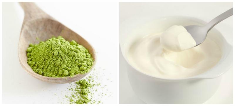 Mặt nạ bột matcha nguyên chất với sữa chua không đường